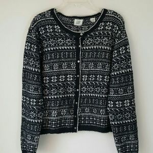 GAP Vtg Snowflake Fair Isle Cardigan-XL